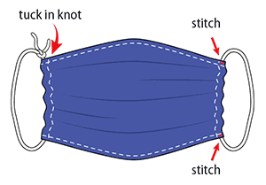 An graphic depicting a home-made cloth face covering.